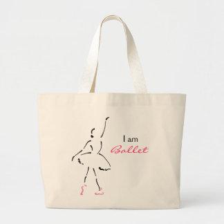 カスタマイズ可能なスローガンを用いる優美なバレエダンサー ラージトートバッグ