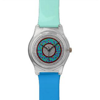 カスタマイズ可能なターコイズの水キャンデーはドーナツ腕時計に点を打ちます 腕時計
