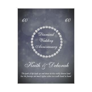 カスタマイズ可能なダイヤモンドの結婚記念日 キャンバスプリント