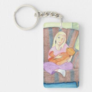 カスタマイズ可能なテディー・ベアKeychainを持つ女の子- キーホルダー