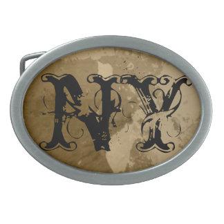 カスタマイズ可能なニューヨーク州のベルトの留め金の芸術| NY 卵形バックル