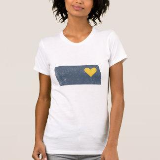 カスタマイズ可能なノースダコタのハートのワイシャツ(灰色) -! Tシャツ