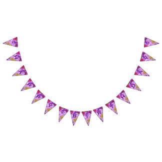 カスタマイズ可能なハッピーバースデーの紫色及び抽象芸術 バンティングフラッグ