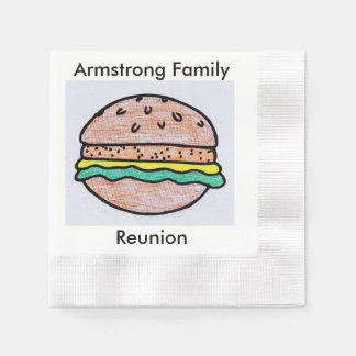 カスタマイズ可能なハンバーガーのバーベキュー 縁ありカクテルナプキン