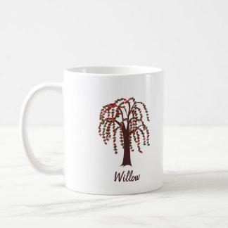 カスタマイズ可能なハートが付いているヤナギの木- コーヒーマグカップ