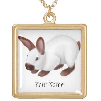 カスタマイズ可能なバニーウサギのネックレス ゴールドプレートネックレス