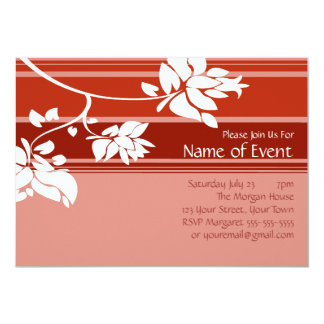 カスタマイズ可能なピンクおよび赤い花柄は縞で飾ります 12.7 X 17.8 インビテーションカード
