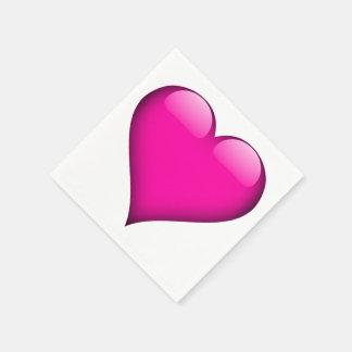 カスタマイズ可能なピンクのガラスハート スタンダードカクテルナプキン