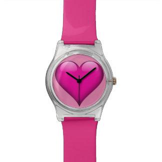カスタマイズ可能なピンクのガラスハート 腕時計