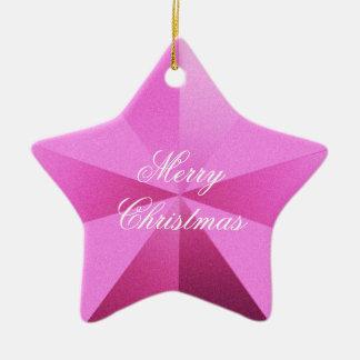 カスタマイズ可能なピンクのクリスマスの星のオーナメント セラミックオーナメント