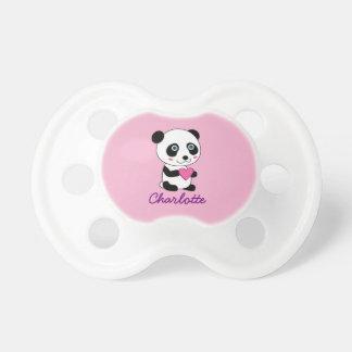 カスタマイズ可能なピンクのハートのかわいいパンダ おしゃぶり