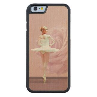 カスタマイズ可能なピンクのバラとの白のバレリーナ CarvedメープルiPhone 6バンパーケース