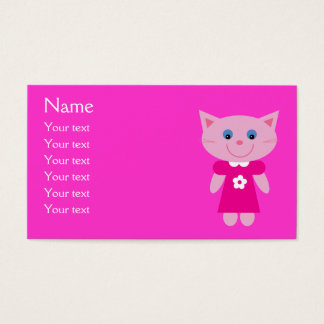 カスタマイズ可能なピンクの服のかわいい漫画猫 名刺
