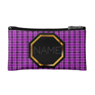 カスタマイズ可能なピンクの格子縞の化粧品のバッグ コスメティックバッグ