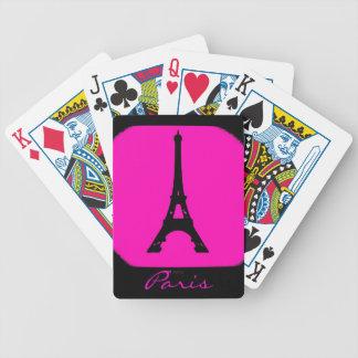 カスタマイズ可能なピンクの黒いパリエッフェル塔カード バイスクルトランプ