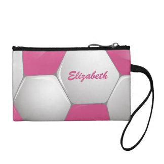 カスタマイズ可能なフットボールのサッカーボールのピンクおよび白 コインパース