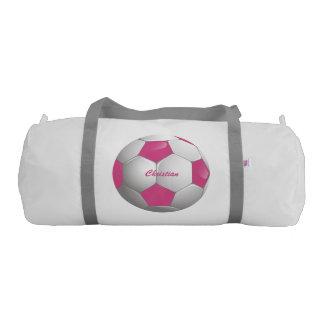 カスタマイズ可能なフットボールのサッカーボールのピンクおよび白 ジムダッフルバッグ