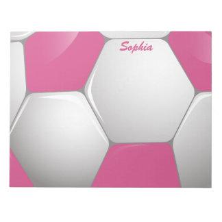 カスタマイズ可能なフットボールのサッカーボールのピンクおよび白 ノートパッド