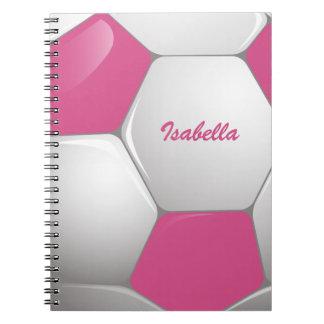 カスタマイズ可能なフットボールのサッカーボールのピンクおよび白 ノートブック