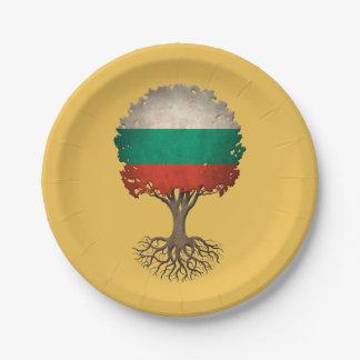 カスタマイズ可能なブルガリアの旗の生命の樹 ペーパープレート