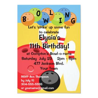 カスタマイズ可能なボーリングの誕生会 カード