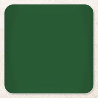 カスタマイズ可能なモダンな深緑色 スクエアペーパーコースター