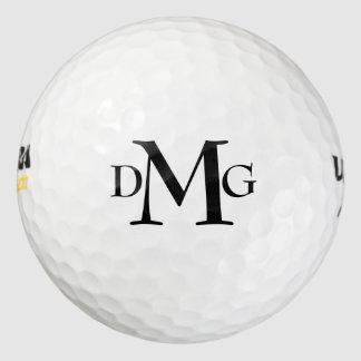 カスタマイズ可能なモノグラムのはっきりしたな文字のイニシャルの黒 ゴルフボール