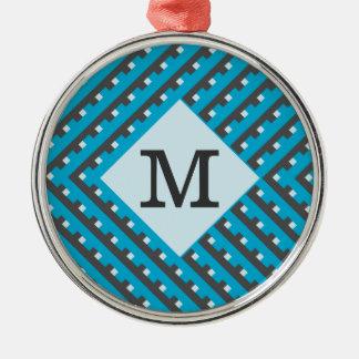 カスタマイズ可能なモノグラムの青い格子 メタルオーナメント
