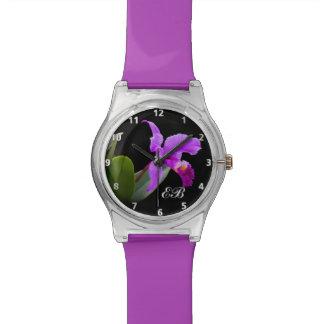カスタマイズ可能なモノグラムを持つ紫色の蘭 腕時計