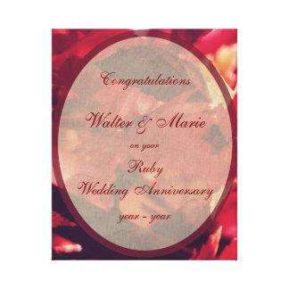 カスタマイズ可能なルビー色の結婚記念日 キャンバスプリント