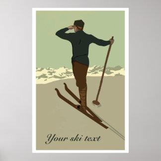 カスタマイズ可能なレトロのアール・デコのスキー旅行広告 ポスター