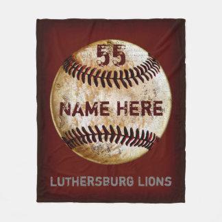 カスタマイズ可能なヴィンテージの野球チーム毛布 フリースブランケット