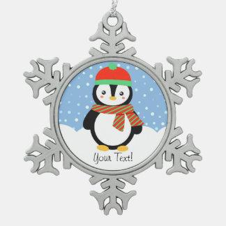 カスタマイズ可能な休日のペンギン スノーフレークピューターオーナメント