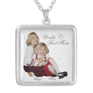 カスタマイズ可能な写真の記念品の母の日のネックレス シルバープレートネックレス