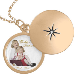 カスタマイズ可能な写真の記念品の母の日のロケット ゴールドプレートネックレス