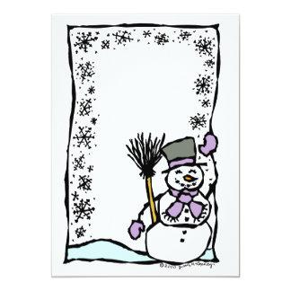 カスタマイズ可能な冬休みの雪だるまの子供のパーティ カード