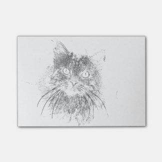 カスタマイズ可能な凝視猫の顔の輪郭 ポストイット