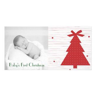 カスタマイズ可能な初めてのクリスマスの写真カード カード