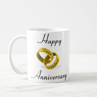 カスタマイズ可能な刻まれたリング-記念日のギフト コーヒーマグカップ