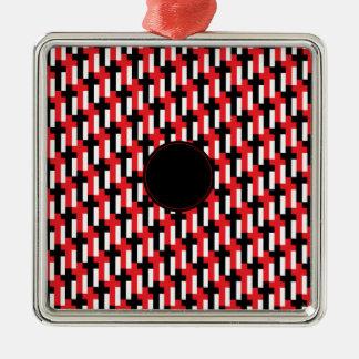 カスタマイズ可能な区域の赤く及び黒い十字パターン メタルオーナメント