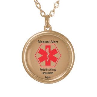 カスタマイズ可能な医学の注意深いネックレス ゴールドプレートネックレス