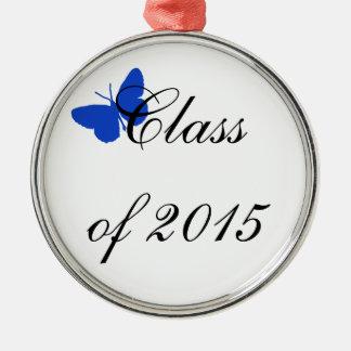 カスタマイズ可能な卒業の-青および白い蝶 メタルオーナメント