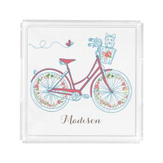 カスタマイズ可能な名前のかわいい自転車そして犬 アクリルトレー