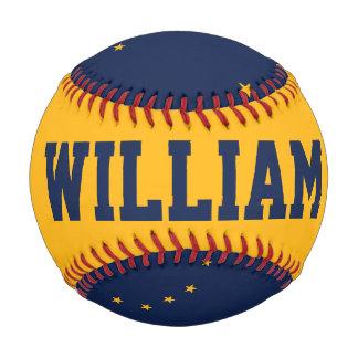 カスタマイズ可能な名前のアラスカの旗の野球 野球ボール