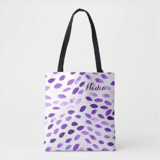 カスタマイズ可能な名前の水彩画パターン トートバッグ