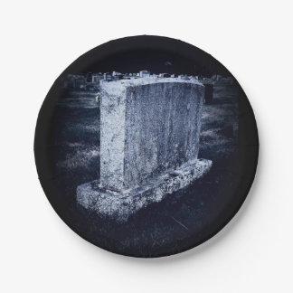カスタマイズ可能な墓石のハロウィンの紙皿7つ ペーパープレート