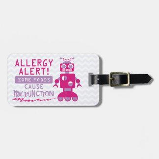 カスタマイズ可能な多数の食物アレルギーのロボット警報 ラゲッジタグ