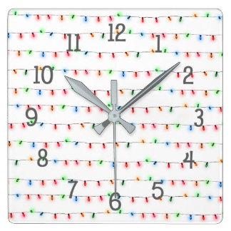 カスタマイズ可能な小さいクリスマスの照明の休日の装飾 スクエア壁時計