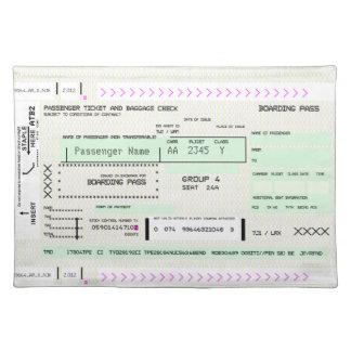 カスタマイズ可能な搭乗券 ランチョンマット