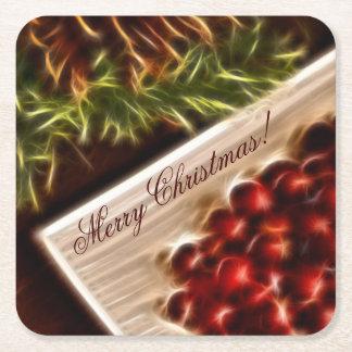 カスタマイズ可能な文字とのフラクタルのクランベリーのクリスマス スクエアペーパーコースター